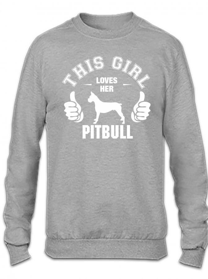 this girl loves her pitbull t shirt design 1 Crewneck Sweatshirt