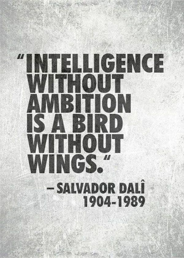 Intelligence without ambition is a bird without wings - Inteligência sem ambição é como um pássaro sem asas - Salvador Dalí