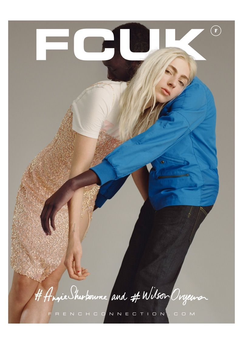 d19feafe8ea Angie Sherbourne and Wilson Oryema embrace in French Connection's spring  2016 campaign