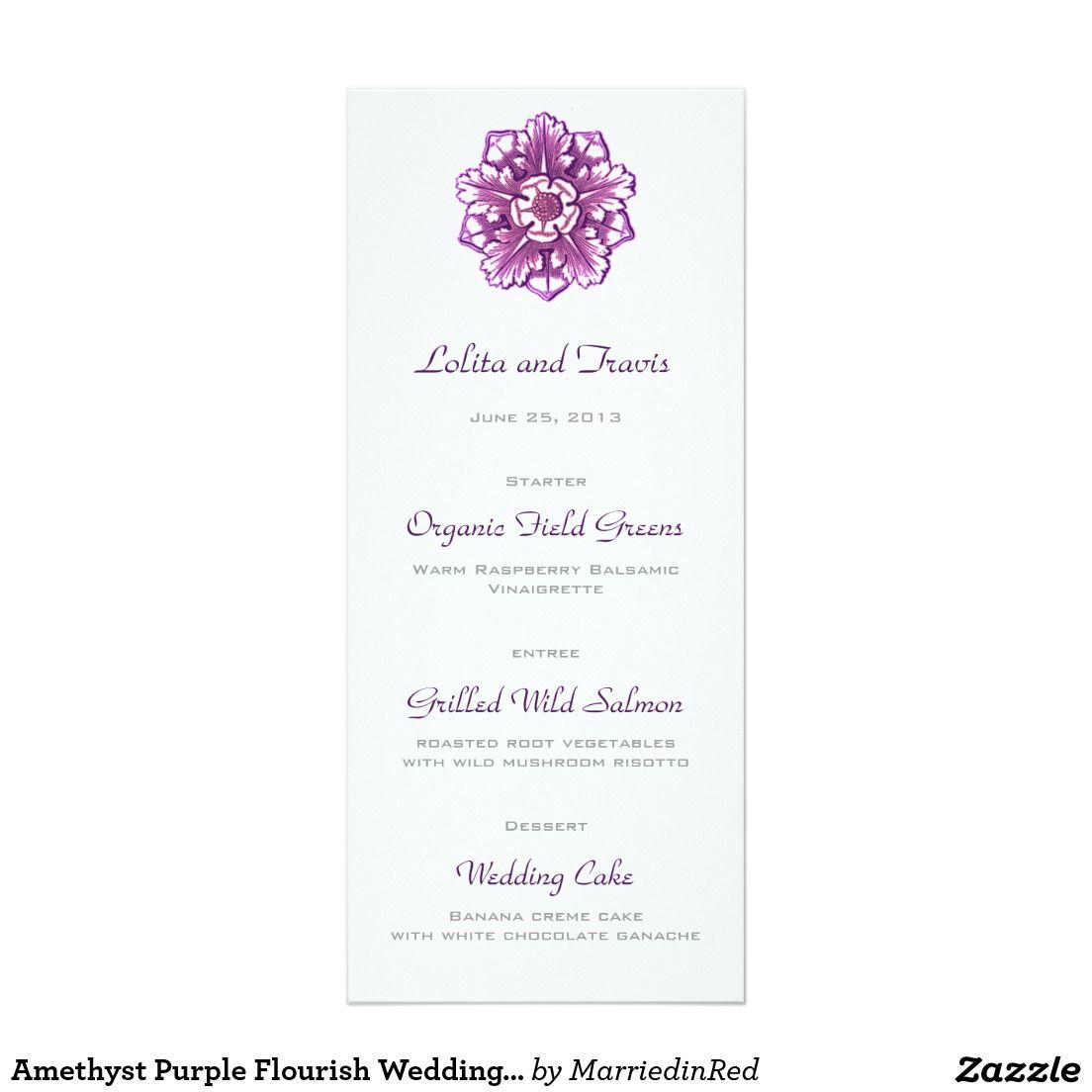 Amethyst Purple Flourish Wedding Menu Card | PSO Events | Pinterest ...