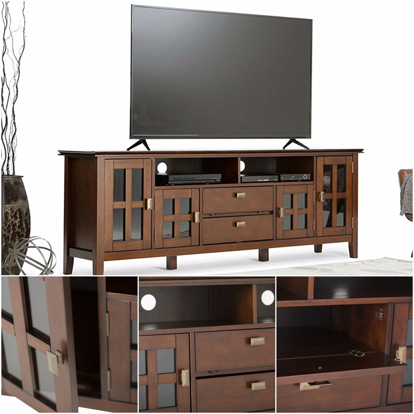 Wide Up 80 Tv Wooden Media Stand 2 Drawers Glass Doors Storage Cabinet 1