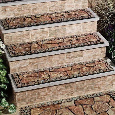 Best Tuscany Stair Tread Multi Earth Outdoor Stairs Stair Treads 400 x 300