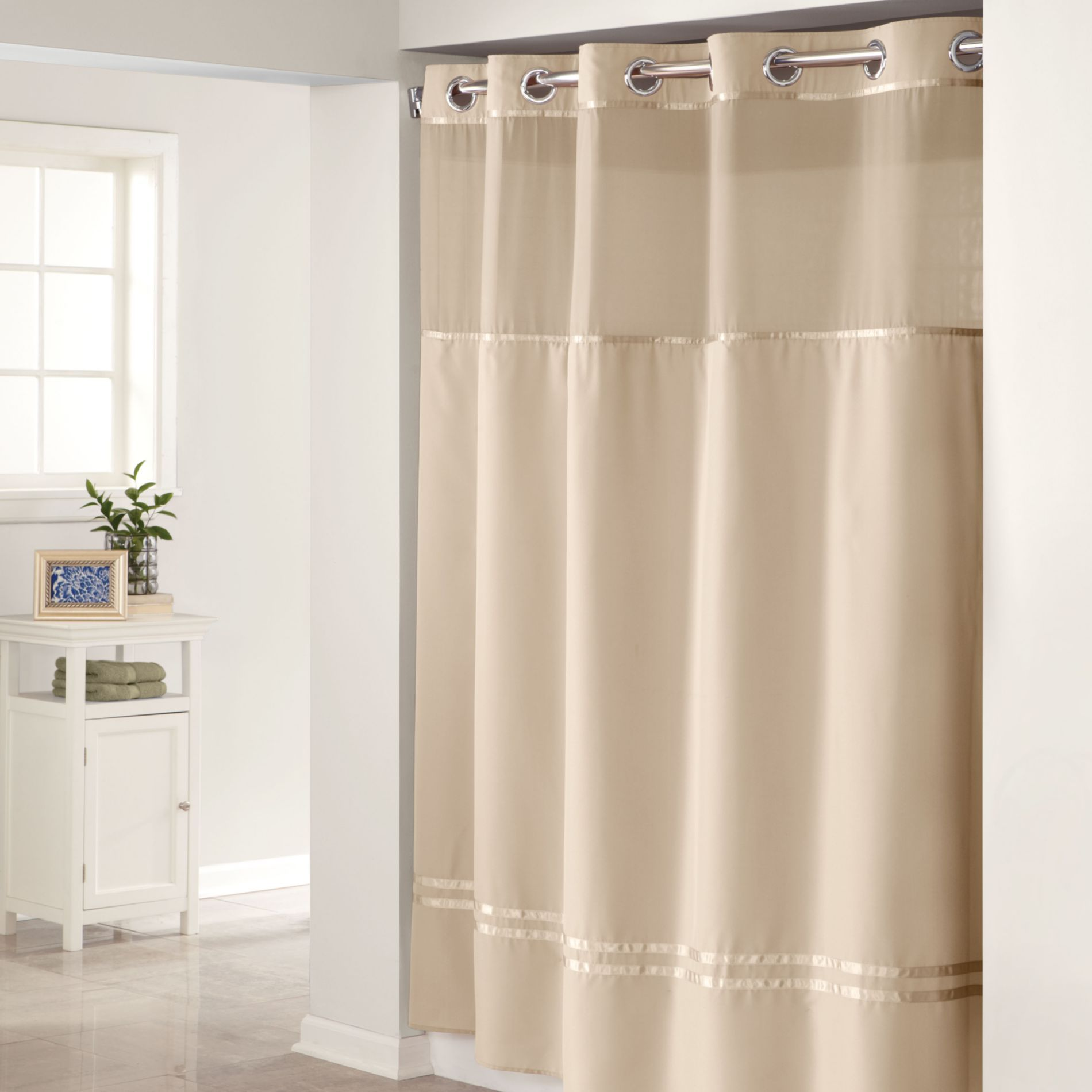 74 Shower Curtain Hookless Escape Taupe 71 Inch W X 74 Inch L Fabric Shower Curtain