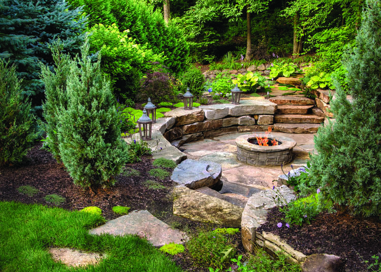 2015 Dhda Exteriors Residential Landscape Design Under One Half Acre 3rd Place Out In 2020 Backyard Landscaping Designs Backyard Landscaping Fire Pit Landscaping