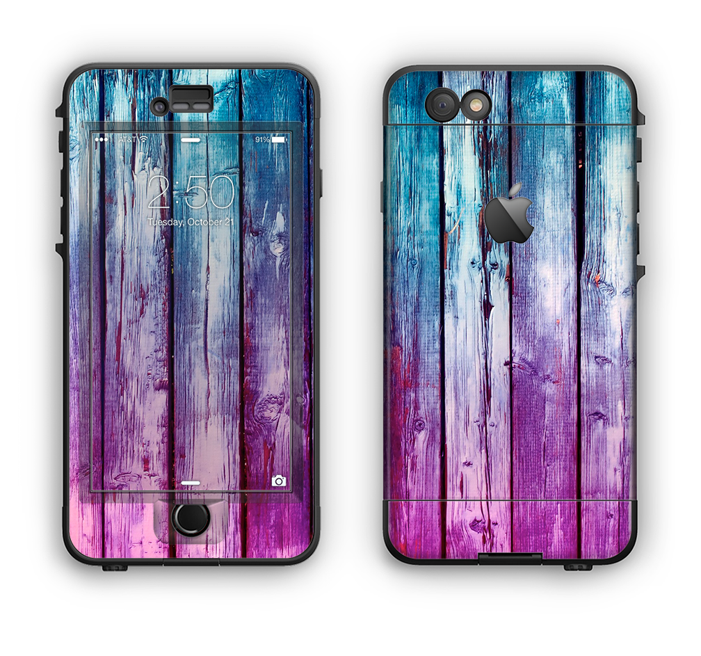 The Pink & Blue Dyed Wood Apple iPhone 6 LifeProof Nuud Case Skin Set