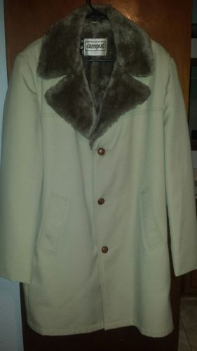 Vintage-Campus-Men-039-s-Size-46-Long-Faux-Fur-Collar-Wool-Lined-Coat-Tan-Brown