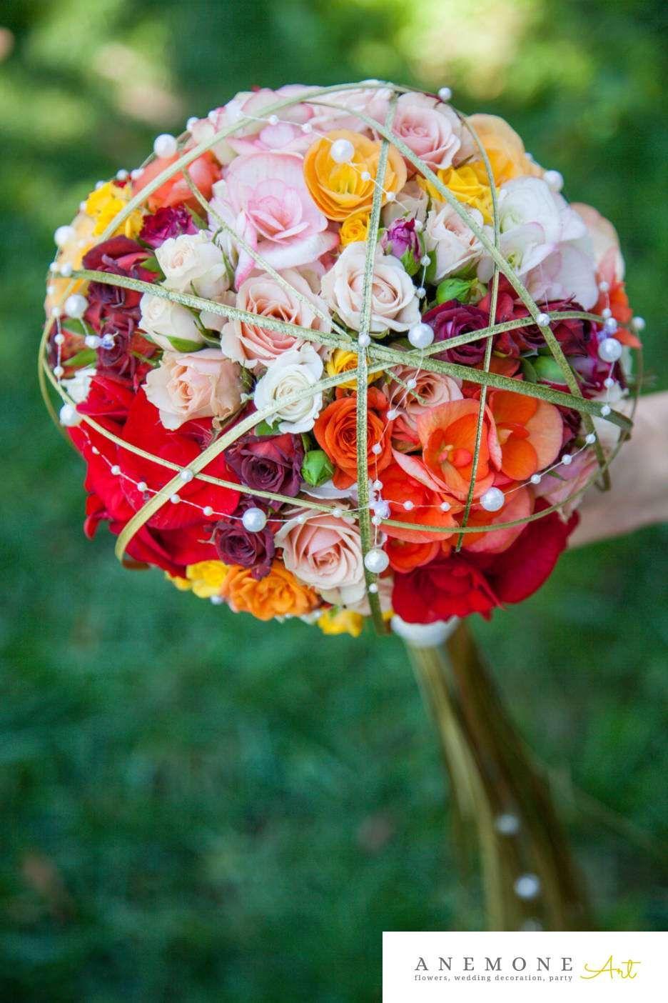 Poza Foto Cu Flori De Nunta Auriu Buchet Mireasa Glob Mini Rosa