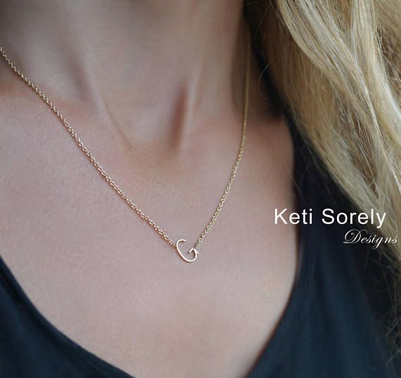 10k 14k Or 18k Solid Gold Sideways Single Initial Necklace Etsy Stacked Necklaces Initial Necklace Initial Necklace Etsy