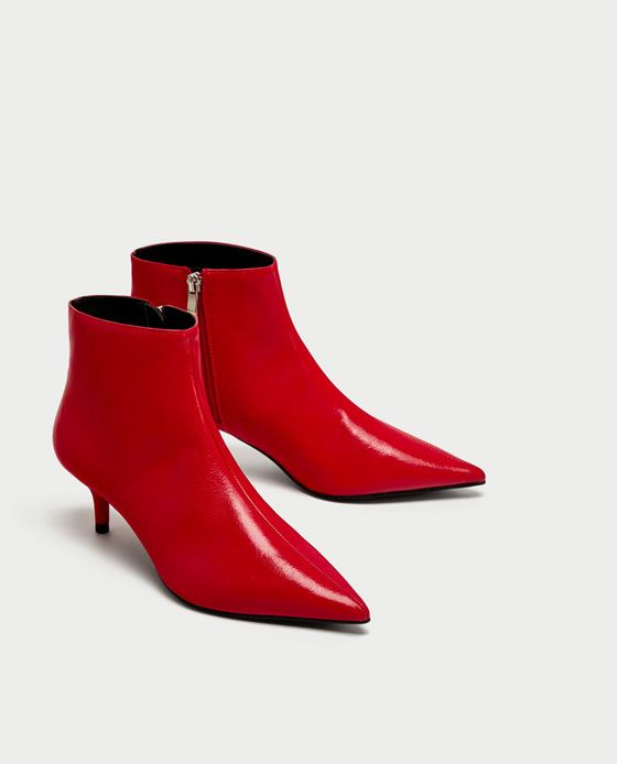 215168a132af Image 3 of RED MID-HEEL ANKLE BOOTS from Zara