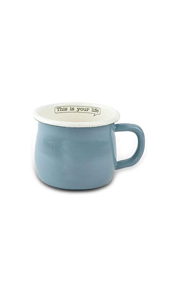 Finex Kitchen Premium Porcelain Enameled Steel Collection Life Series Blue Coffee Mug