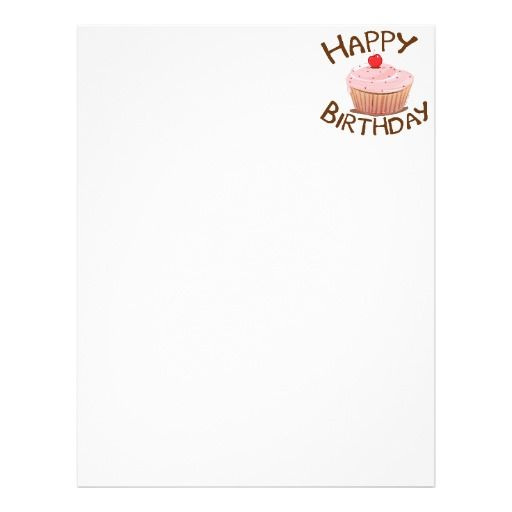 happy birthday flyer templates letter head cupcake happy birthday letterhead template