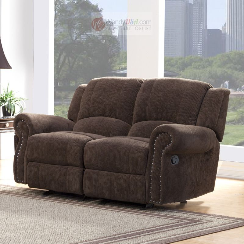 Good Quality Affordable Furniture: $668 Quinn Chocolate Polyester Double Glider Reclining