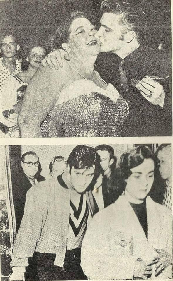 Top photo: Elvis pictured at a Memphis fundraiser in 1956 with nightclub singer Helen Putnam.  Bottom Photo: Elvis with Girlfriend Barbara Hearn