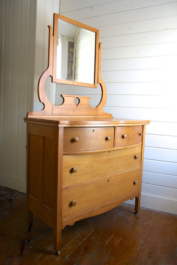 Best Vintage Wooden Bureau Dresser With Removable Mirror On 640 x 480