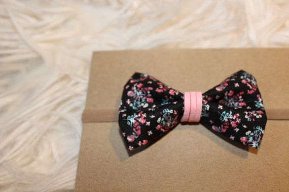Black Floral Bow by KMacBows on Etsy
