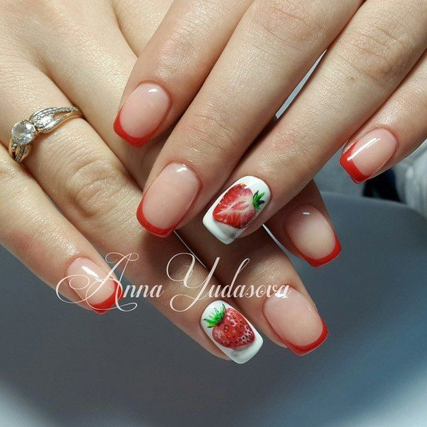 Cheerful nails, French manicure, Red french manicure, ring finger nails, Scarlet nails, Strawberry nail art, Strawberry nails, Summer French nails 2016