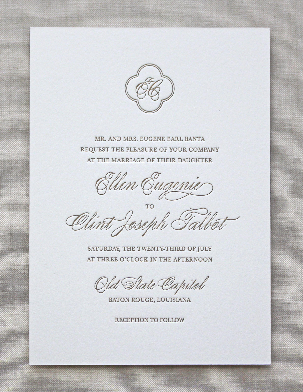 Letterpress Wedding Invitation Lyon Design Chatham Caron
