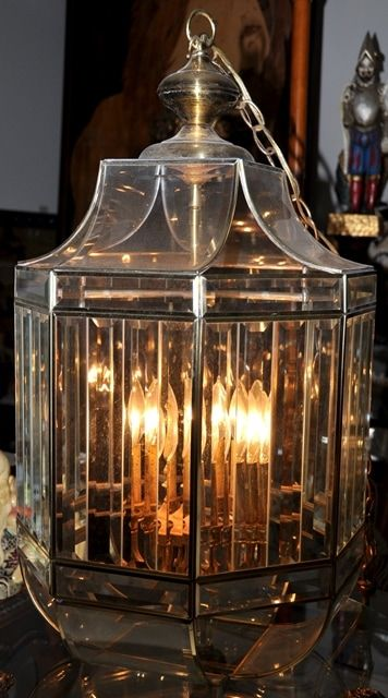 Large beveled glass and brass octagonal foyer hanging light ...