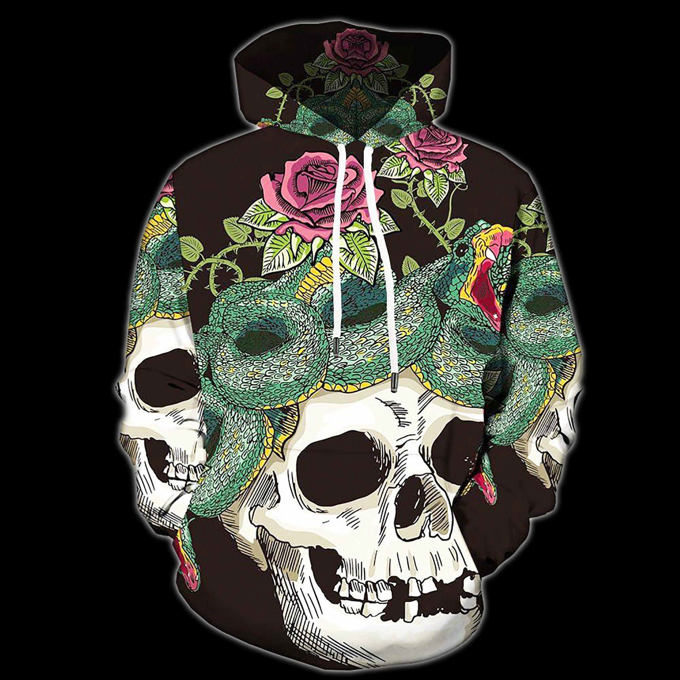 Photo of Dope Skull Hoodies – Snakes, Roses & Skulls / 4XL