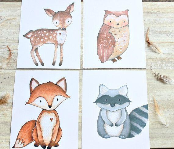 Woodland Nursery Decor Creatures Print Set Printables Artwork Baby Room Wall Art Of 4 This
