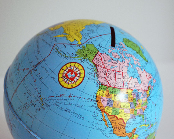 Ohio Art Zodiac Globe Bank, Tin World Globe, 1970s Tin Toy, Desktop