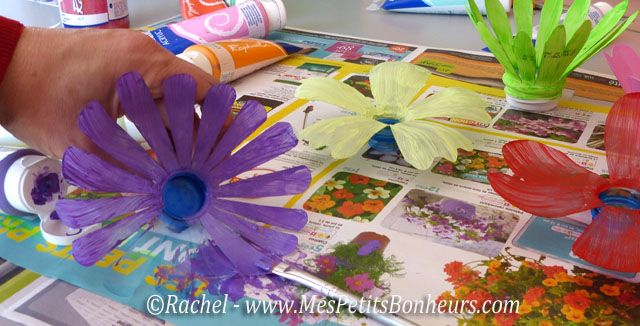 penture fleurs plastique bricolage enfant recup. Black Bedroom Furniture Sets. Home Design Ideas