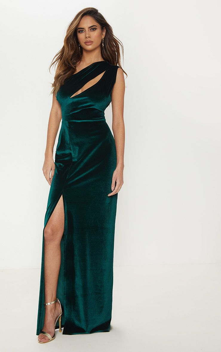performance sportswear 100% original fantastic savings Emerald Green Velvet One Shoulder Split Leg Maxi Dress ...
