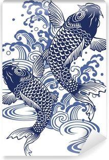 Wall Mural 日本画調の鯉
