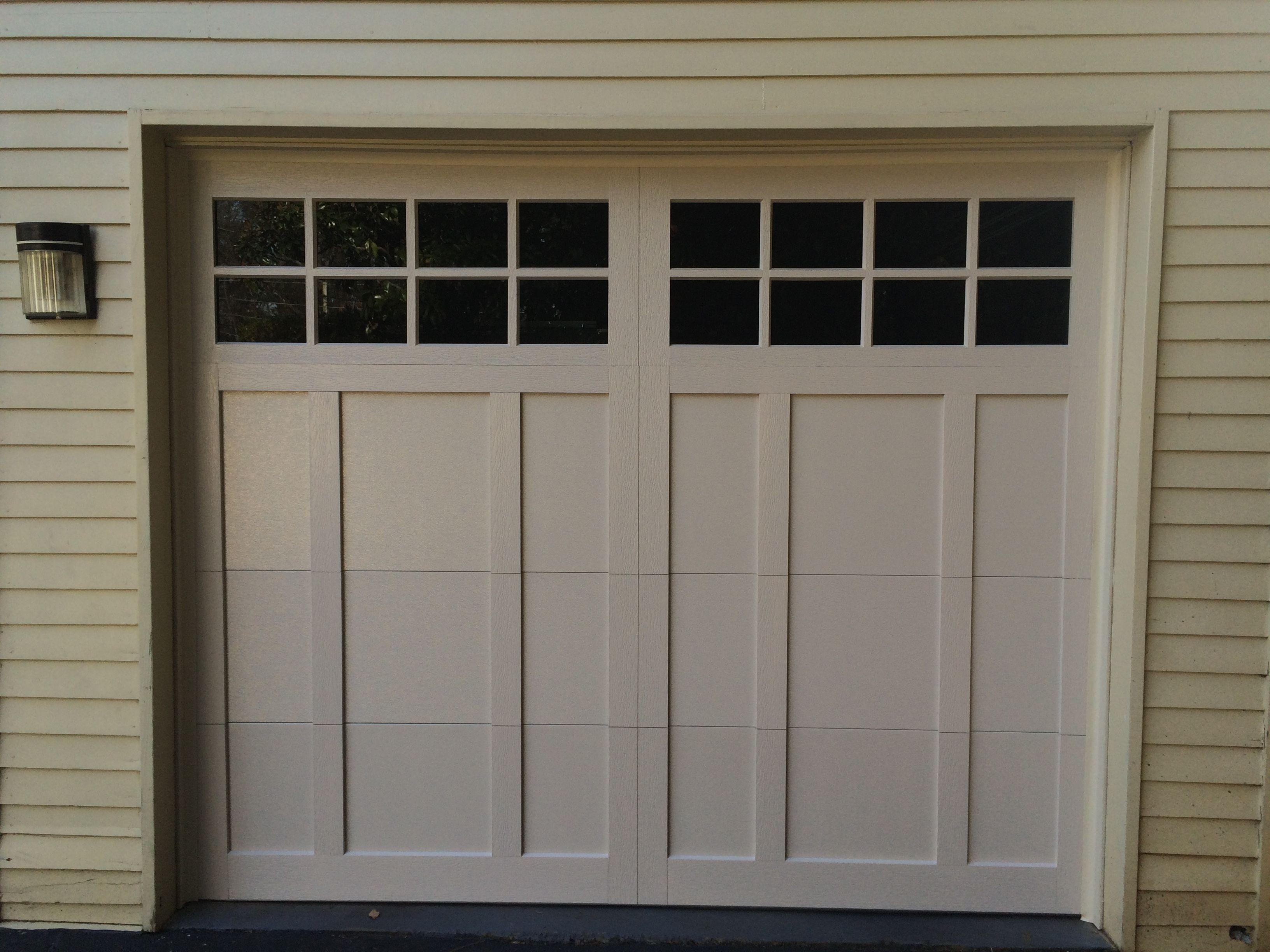 Off White Wooden Garage Door With 16 Rectangle Windows