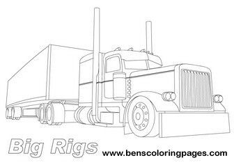 peterbilt semi trucks coloring pages | Pin by eric west on printables | Coloring pages, Truck ...