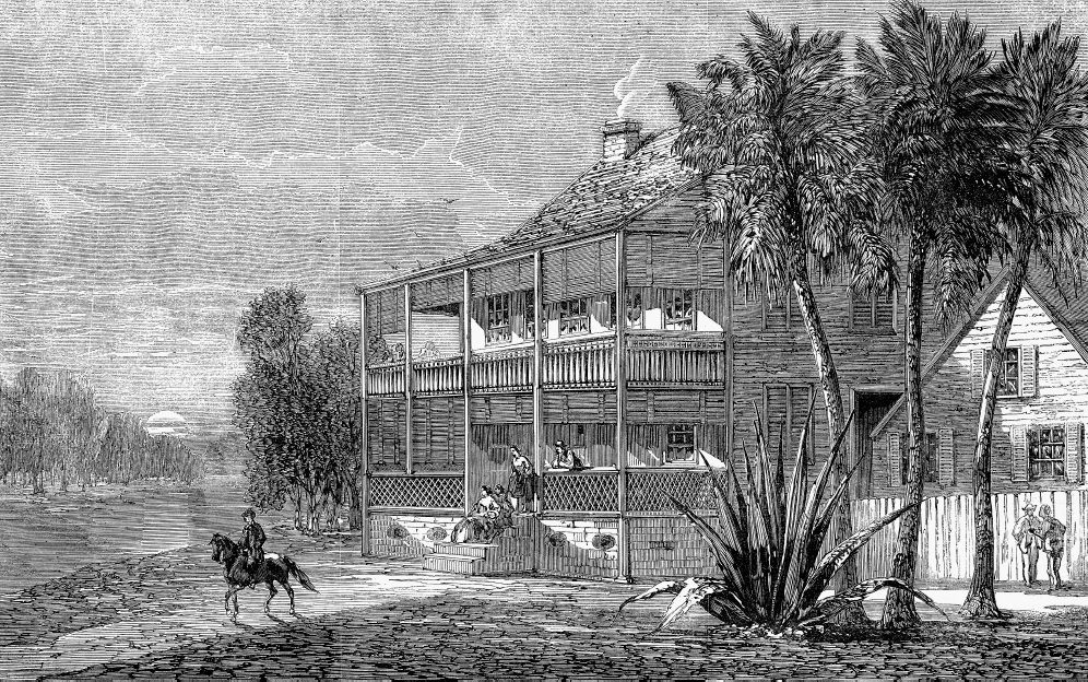 Wood engraving of a planter's residence next to the Cumbee River with a man on a horse outside.