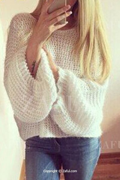 White Scoop Neck Long Sleeves Jumper WHITE: Sweaters   ZAFUL