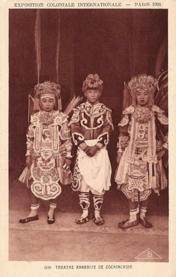 1931 Paris Colonial Exposition Asian Children from Cochinchina Theatre Play in Exotic Cambodian Costumes Original RARE 1930s French Postcard