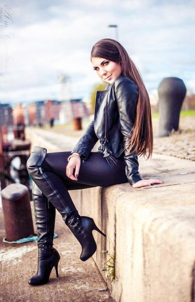 in leather boots Sexy girls