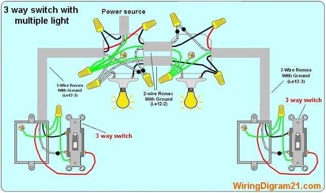 3 Way Switch Wiring Diagram Multiple Light Double 3 Way Switch Wiring Light Switch Wiring Lighting Diagram