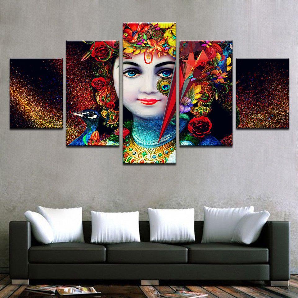 India God Radha Krishna Painting Oil Printed Hd Canvas Wall Art Home Decor 5pcs Unbranded Artdeco Canvas Wall Art Art Krishna Painting
