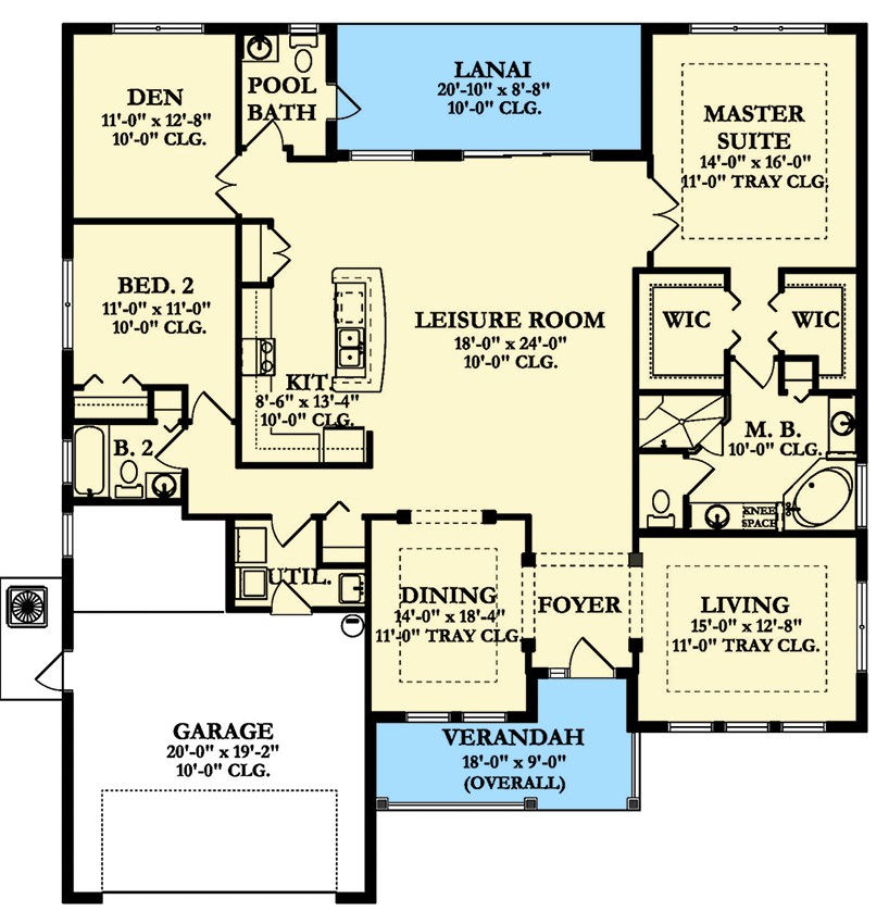 Plan 82176ka Two Bedrooms And A Den Building Plans House Floor Plans House Plans