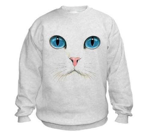 Sudadera Blanca Especial - Gato / Cara De Gato | Playeras Camisetas ...