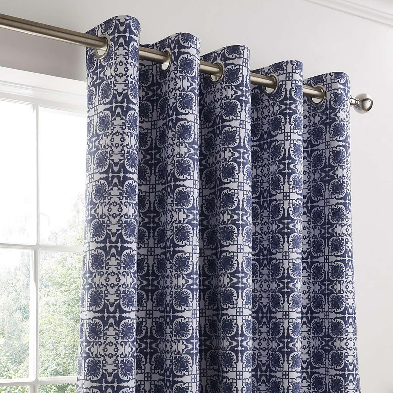 Dunelm geometric blue amal eyelet blackout curtain modern room