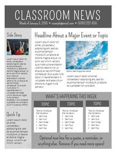 Free Newsletter Templates  Editable   Classroom Organization