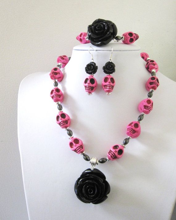 polymer clay rose Halloween necklace neon beads day of the dead howlite skulks Necklace black rose