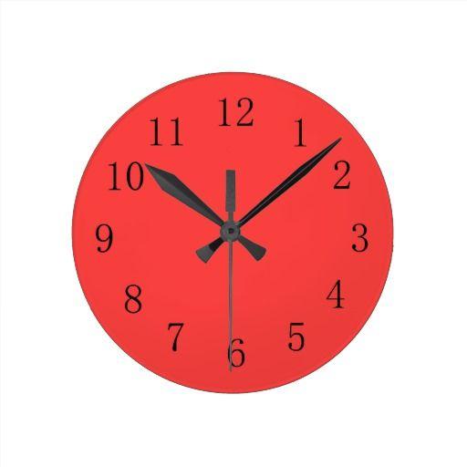 Bright Coral Red Kitchen Wall Clock Zazzle Com Red Kitchen Walls Wall Clock Kitchen Wall Clocks