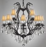 F83-SC/3034/8+4 Gallery Wrought [With Crystal] WROUGHT IRON CHANDELIER