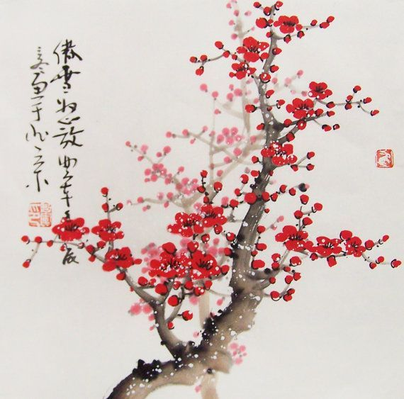 Cherry Blossom Paintings Original Chinese Painting Oriental Art Watercolour Lovely Cherry Blossom Tre Cherry Blossom Painting Cherry Blossom Art Blossoms Art
