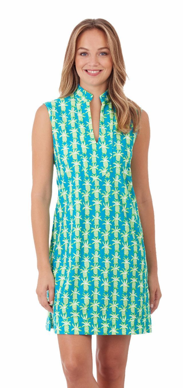 Jude Connally Kristen Dress In Pineapple Party Turquoise | Turquoise ...