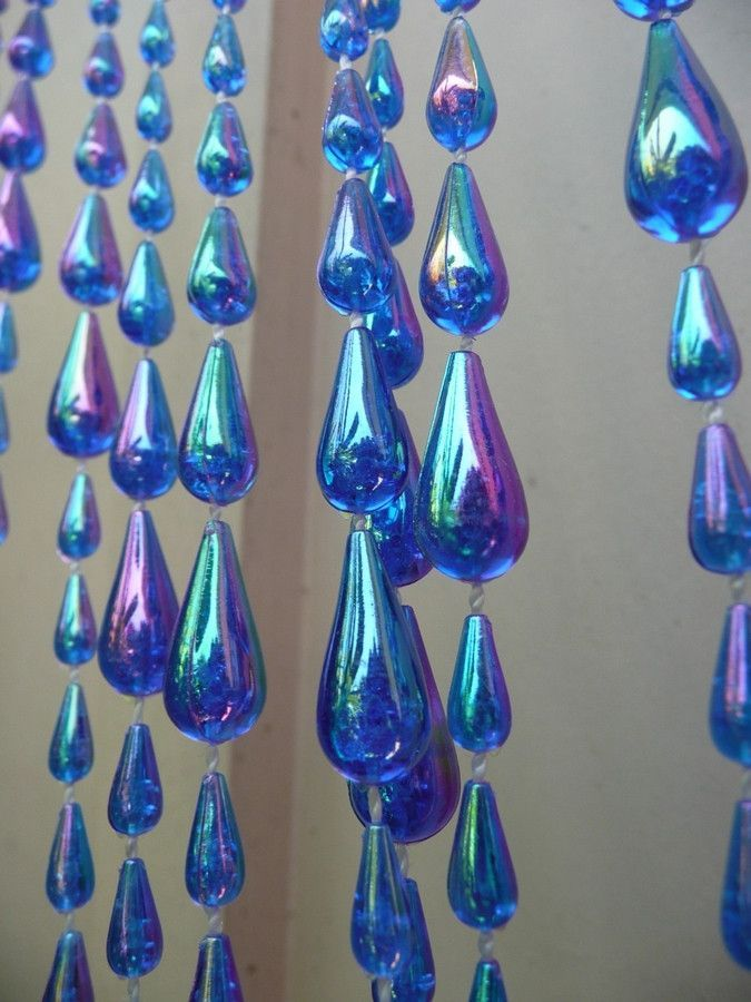 iridescent blue raindrop beaded curtain
