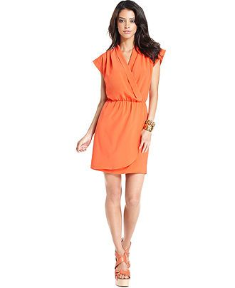 tangerine wrap dress