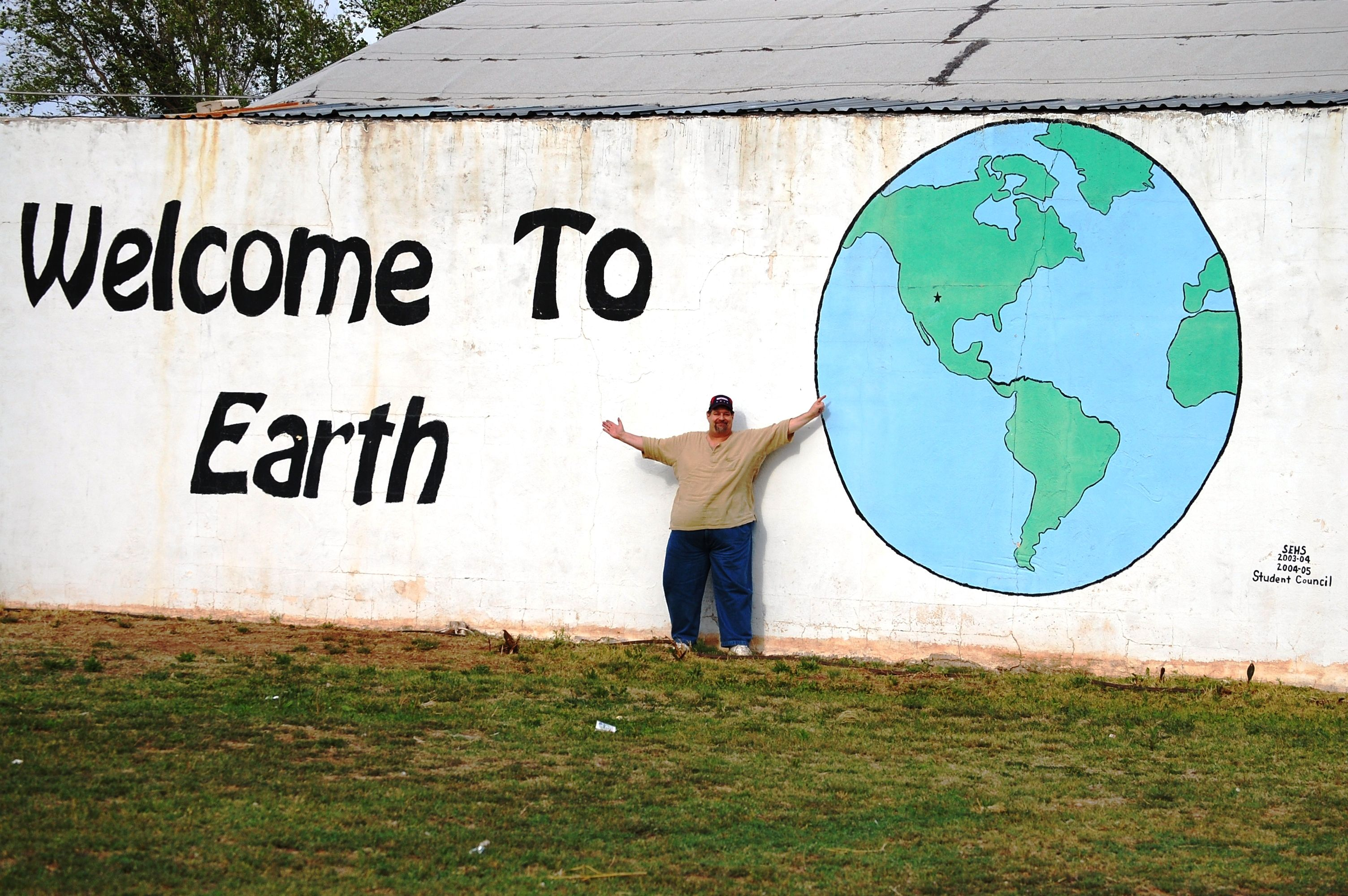 Welcome to earth texas huge wall mural not sure who for Earth rising wall mural