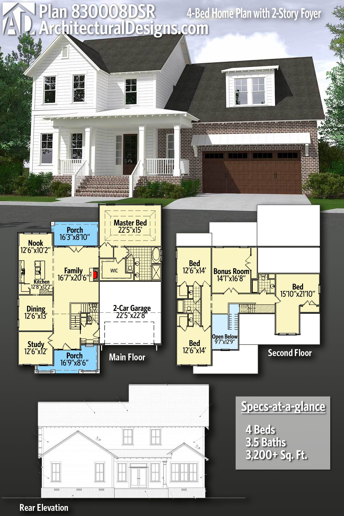 Plan 830008dsr 4 Bed Home Plan With 2 Story Foyer 住宅 間取り ハウス 間取り