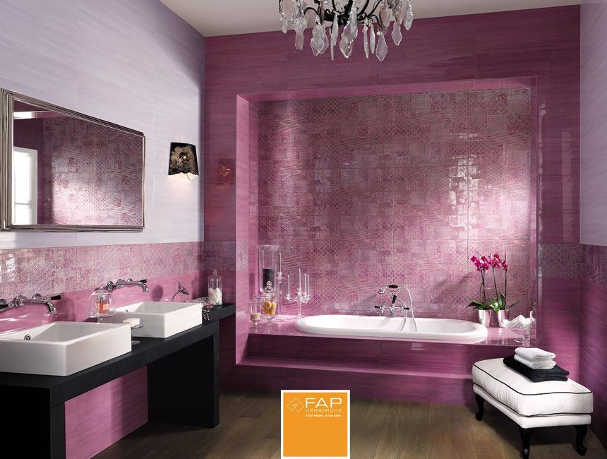 Wall Sole Buganvilla E Glicine Sole Gioiello Buganvilla Floor Nuances Noce Fapceramiche Sole Ce Purple Bathrooms Bathroom Tile Designs Purple Bathroom Decor